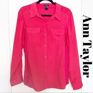 Ann Taylor Coral Size 12 Button Down Blouse